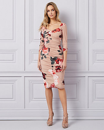 Floral Print Mesh Square Neck Dress