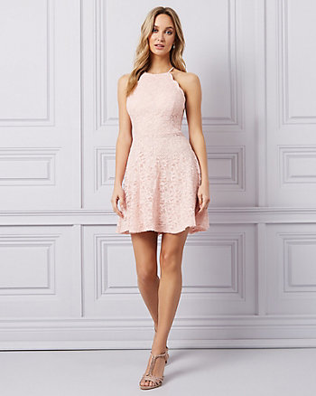 Sparkle Lace Halter Neck Cocktail Dress