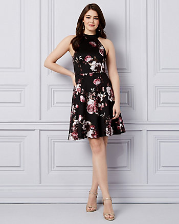 Floral Print Foil Knit & Lace Halter Dress