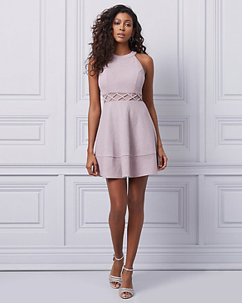 Sparkle Knit Halter Neck Cocktail Dress