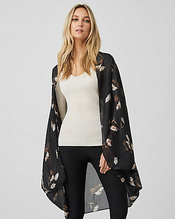 Floral Print Open Front Poncho