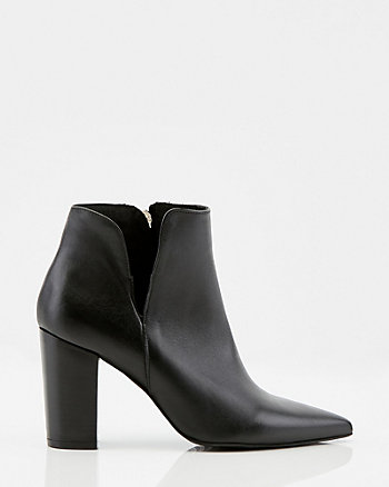 Italian-Made Leather Pointy Toe Bootie