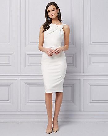 Crêpe Twist Neck Cocktail Dress