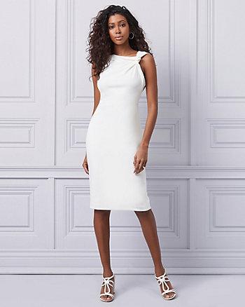 Crêpe Twist Neck Cocktail Dress