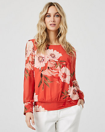 Floral Print Chiffon Boat Neck Top