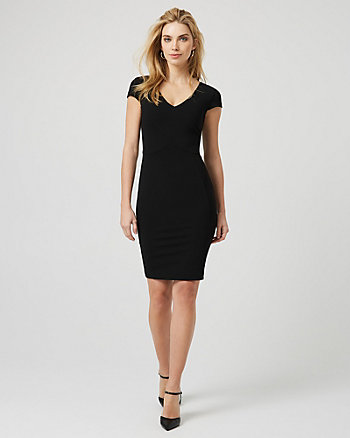 Knit Crêpe V-Neck Shift Dress ... 744cf9b4fff2