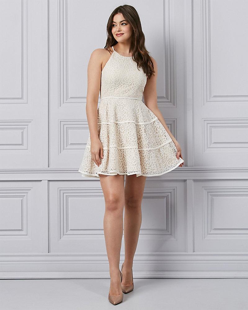 5003f6a94a9 Laser Cut Knit Halter Cocktail Dress