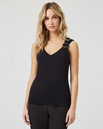 Knit Crêpe V-Neck Sleeveless Top