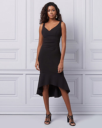 Knit Crêpe V-Neck Sheath Dress