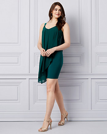 Chiffon V-Neck Ruffle Dress