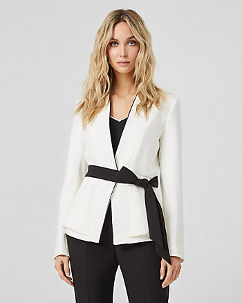 Collarless Belted Blazer