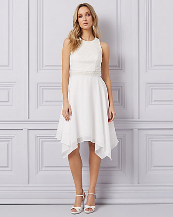 Lace & Chiffon Fit & Flare Cocktail Dress