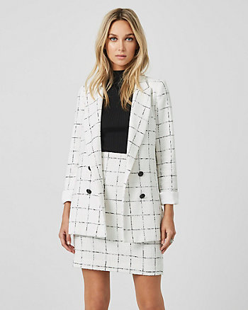 Windowpane Bouclé Double Breasted Blazer