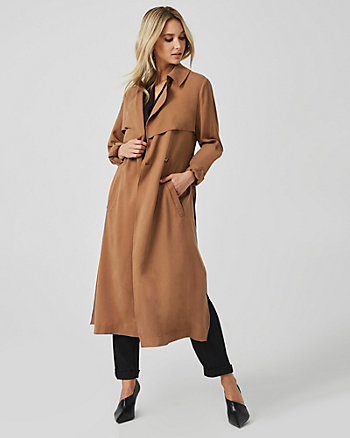 Tencel Double Breasted Wrap Coat