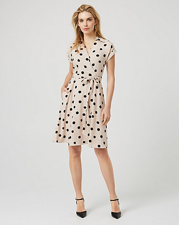 Dot Print Crêpe De Chine Shirtdress