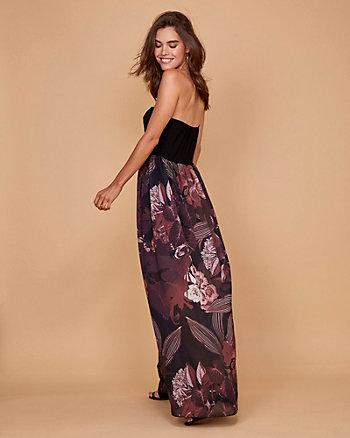 Floral Print Chiffon Strapless Maxi Dress
