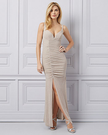 Sparkle Knit V-Neck Gown