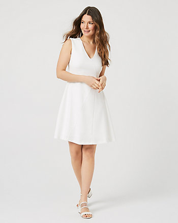 Knit Crêpe V-Neck Wrap Dress