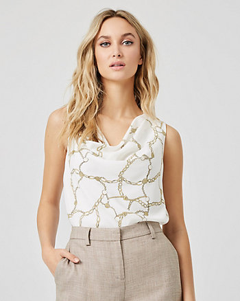 Conversational Print Sleeveless Blouse
