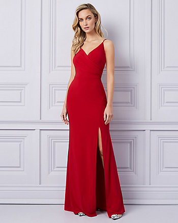 Knit V-Neck Wrap-like Gown