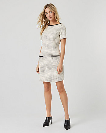 Bouclé Crew Neck Tunic Dress