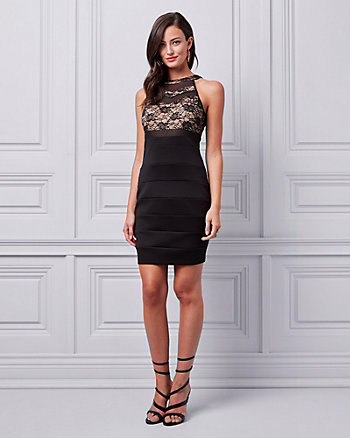 Lace & Ottoman Knit Halter Cocktail Dress