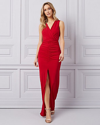 a0ab87fbd72 Knit Faux Wrap Gown
