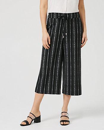 Stripe Knit Crêpe Culotte
