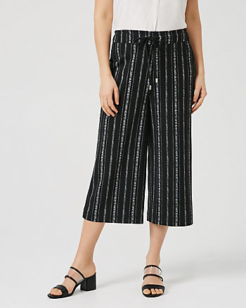 Jupe-culotte rayée en crêpe tricot