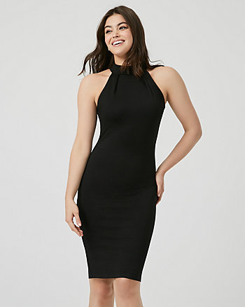 Ponte Knit Mock Neck Midi Dress