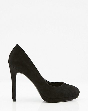 Faux Suede Almond Toe Platform Pump