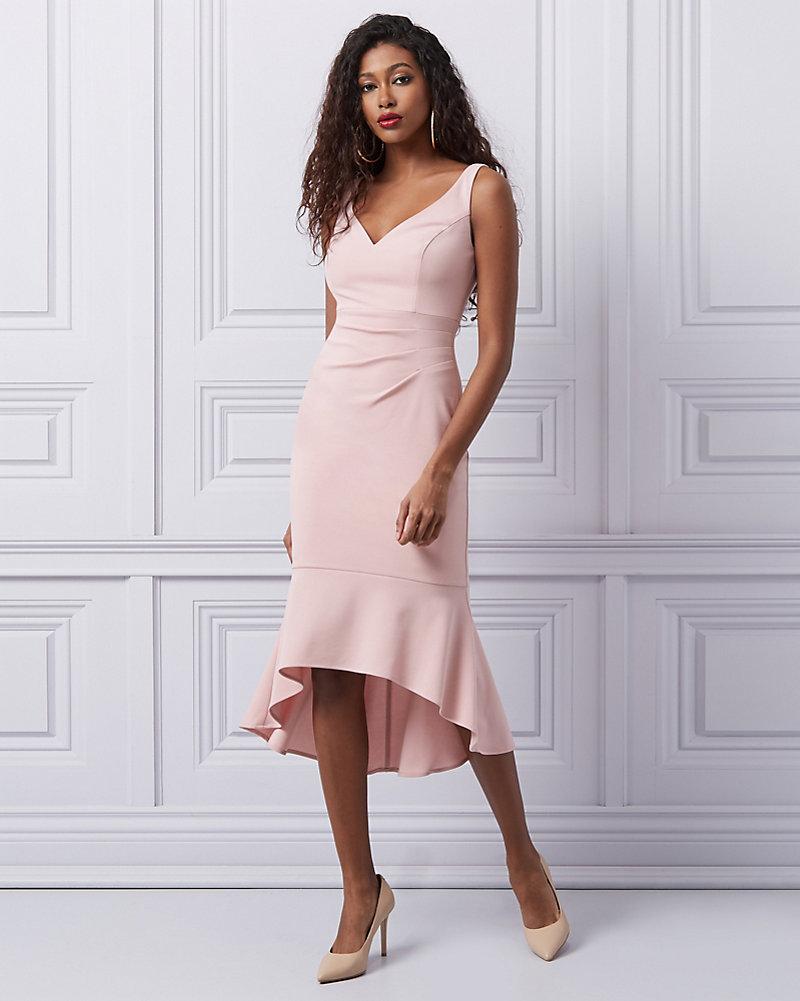 ce375fe16d Knit Crêpe V-Neck Sheath Dress