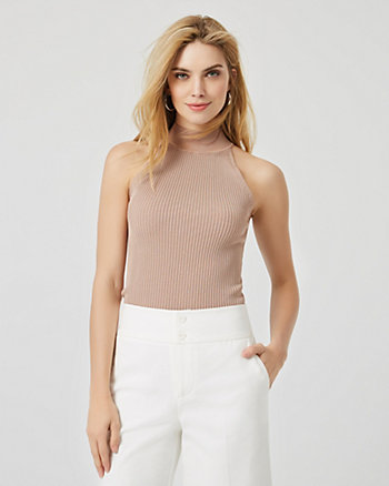 Rib Knit Mock Neck Sleeveless Sweater