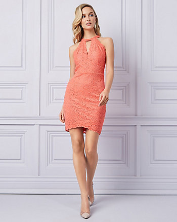 Lace Mock Neck Cutout Cocktail Dress