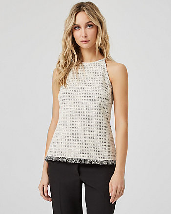 Bouclé Sleeveless Halter Top