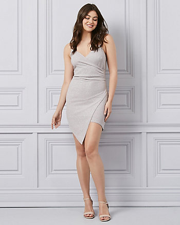 Sparkle Scuba Knit V-Neck Wrap-Like Dress