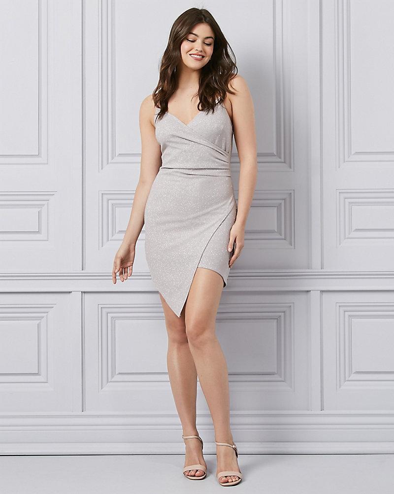 873fd09e59a Sparkle Scuba Knit V-Neck Wrap-Like Dress