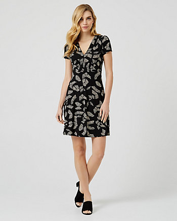 Abstract Print Jersey Knit V-Neck Dress