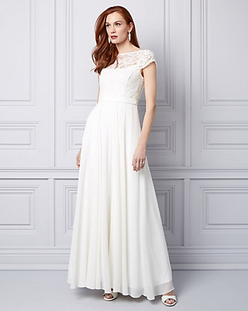 Lace & Chiffon Illusion Gown