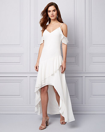 Chiffon Cold Shoulder Ruffle Gown