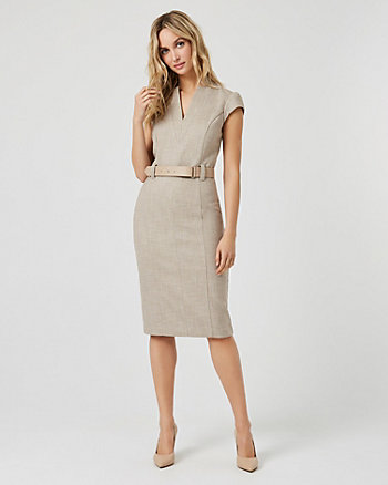 Crosshatch Print Sheath Dress