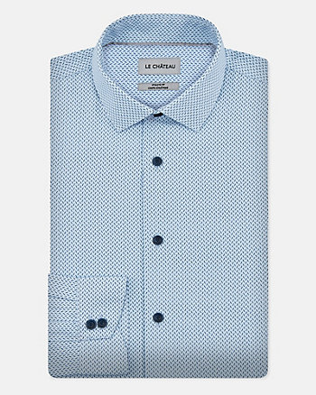 Squiggle Print Cotton Blend Shirt
