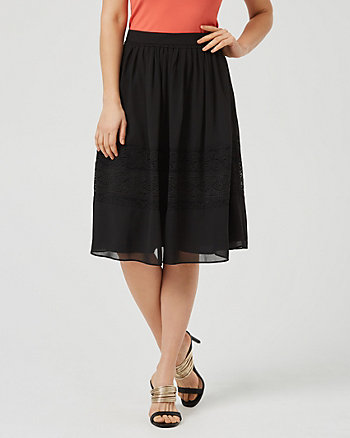 Flared Lace & Chiffon Midi Skirt