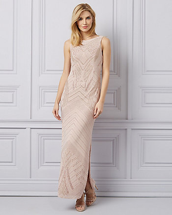 Sparkle Knit & Sequin Open Back Gown