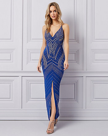 Sparkle Knit Deep-V Open Back Gown