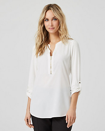 Crêpe de Chine & Knit Henley Neck Blouse
