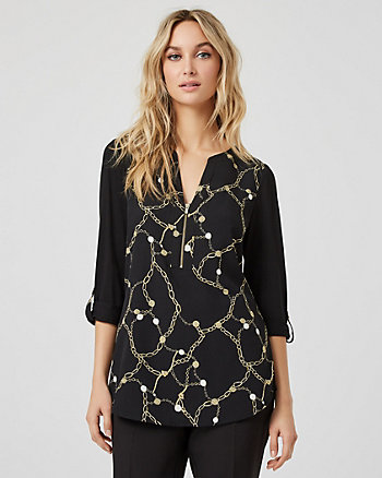 Chain Print Crêpe de Chine & Knit Blouse