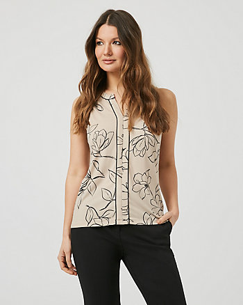 Floral Crêpe V-Notch Sleeveless Blouse