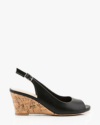 Cork Wedge Peep Toe Slingback Sandal
