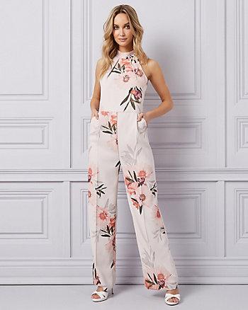 Floral Print Crêpe Wide Leg Jumpsuit